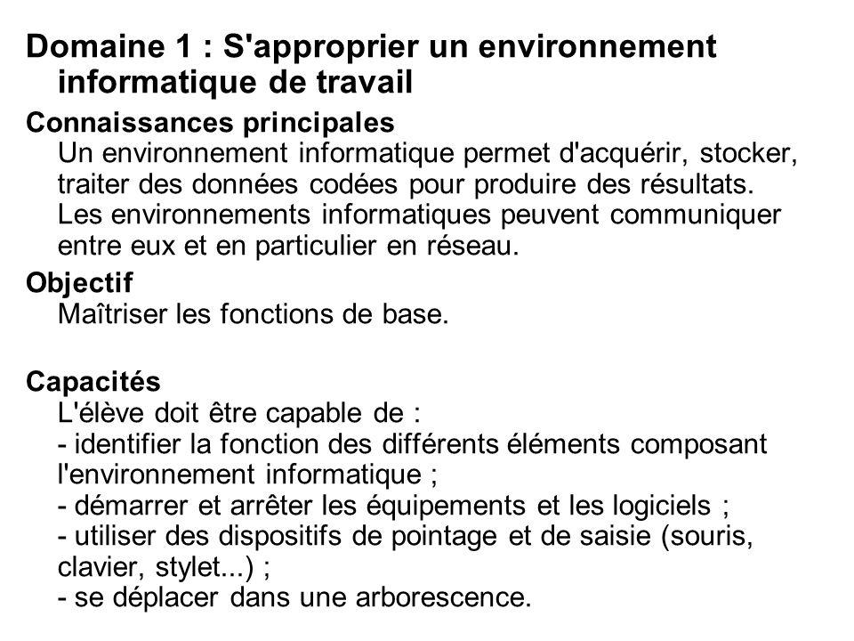 Domaine 1 : S approprier un environnement informatique de travail