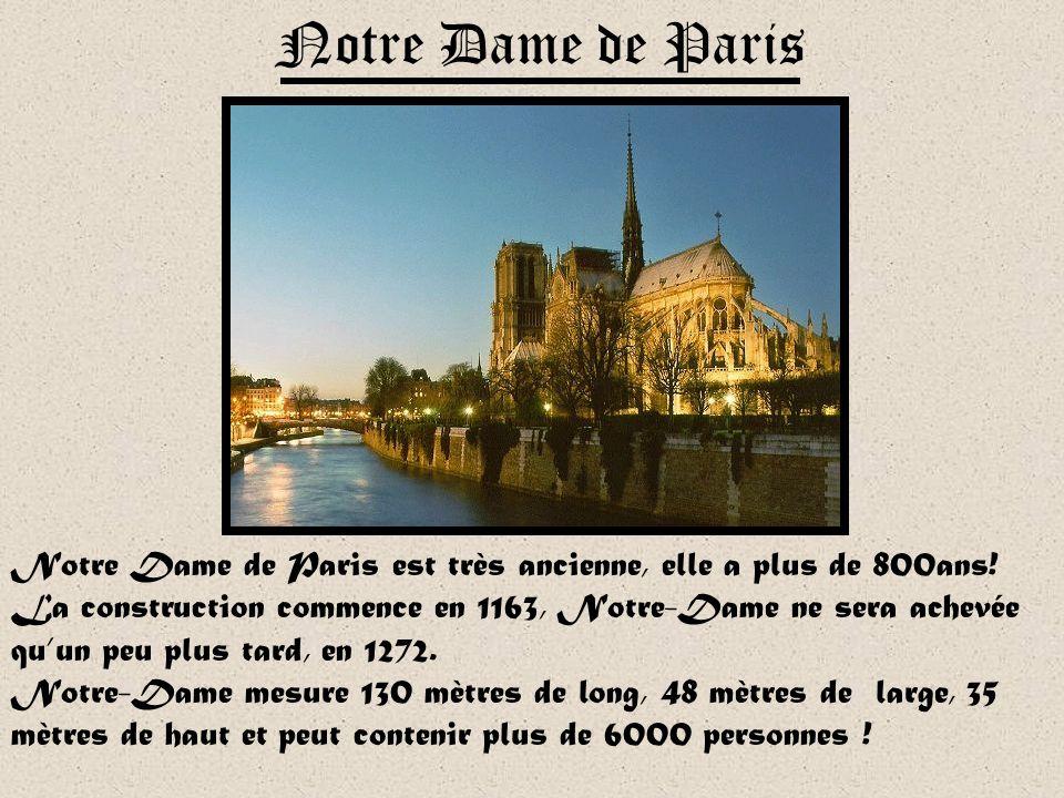 Notre Dame de Paris Notre Dame de Paris est très ancienne, elle a plus de 800ans!