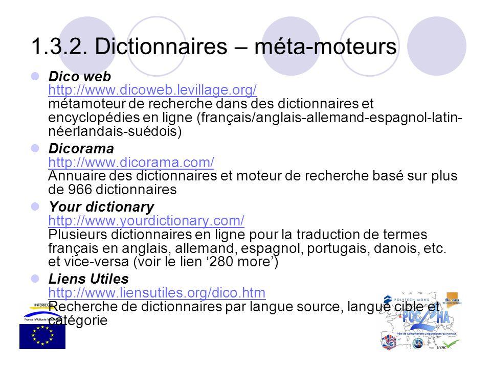 1.3.2. Dictionnaires – méta-moteurs