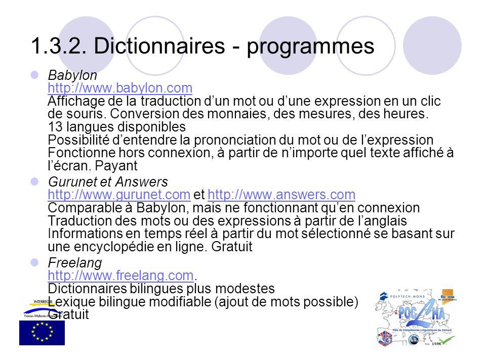 1.3.2. Dictionnaires - programmes