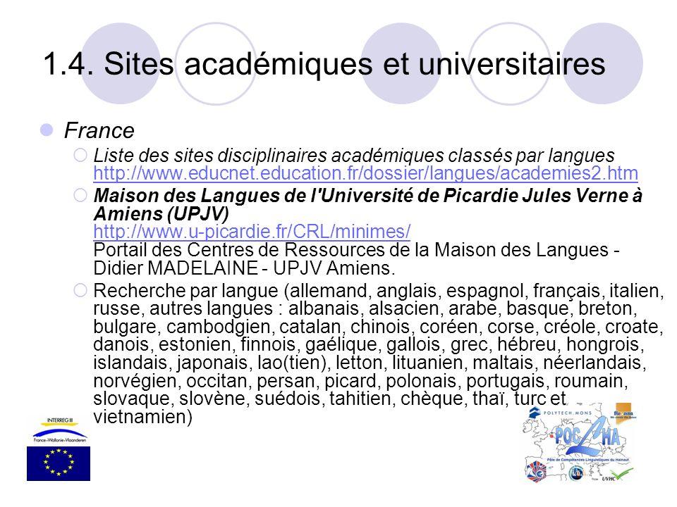 1.4. Sites académiques et universitaires