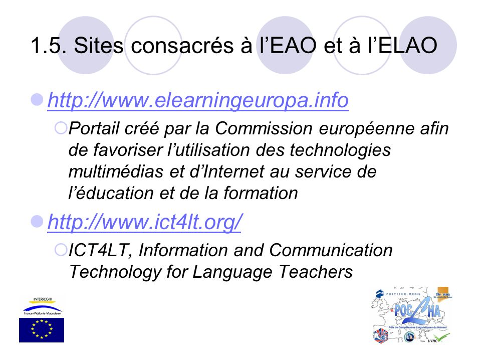 1.5. Sites consacrés à l'EAO et à l'ELAO