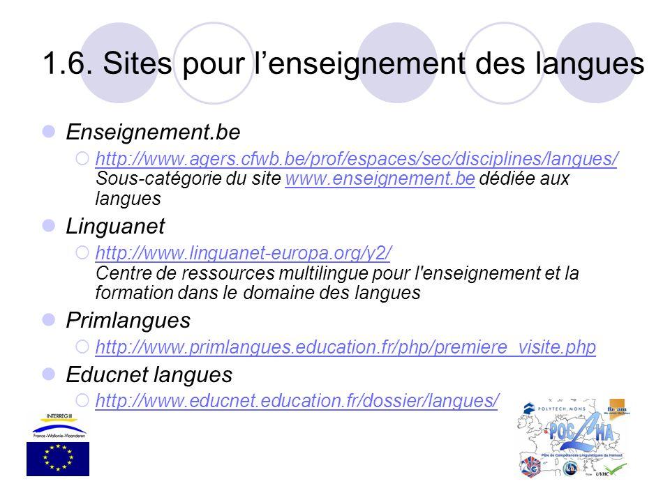 1.6. Sites pour l'enseignement des langues