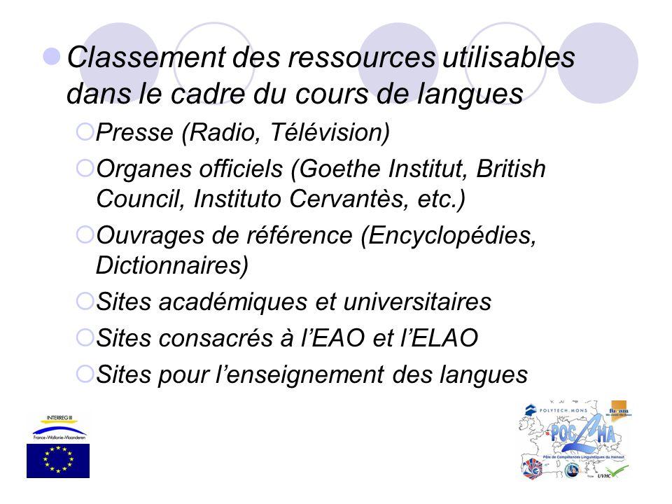 Classement des ressources utilisables dans le cadre du cours de langues