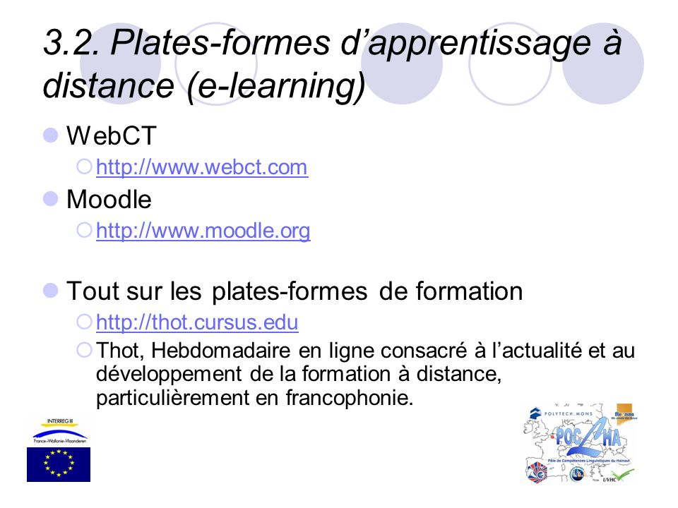 3.2. Plates-formes d'apprentissage à distance (e-learning)