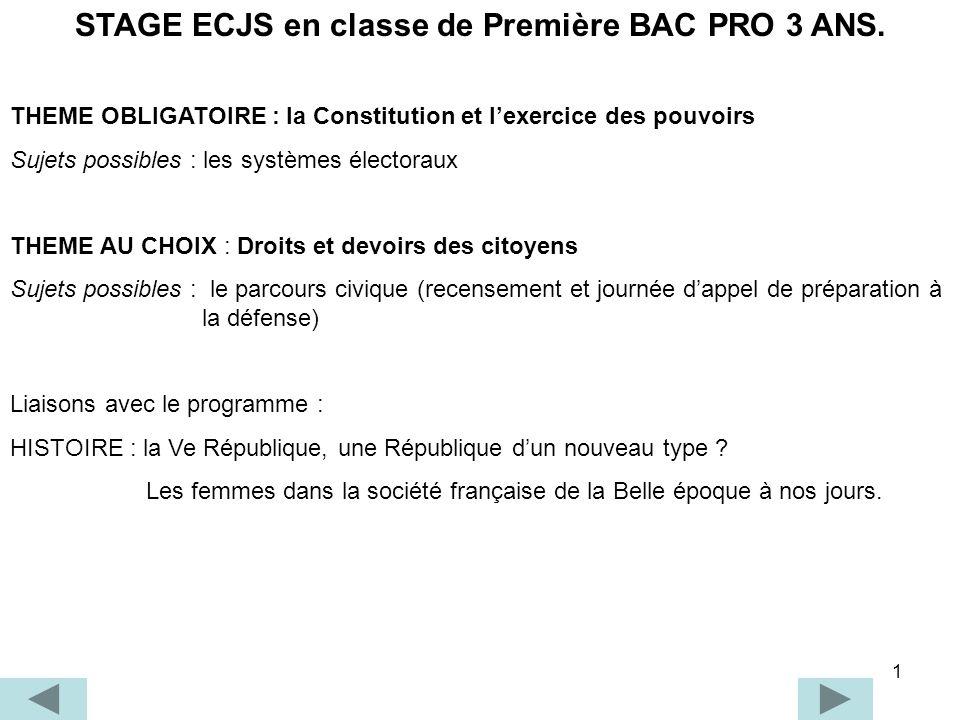 STAGE ECJS en classe de Première BAC PRO 3 ANS.
