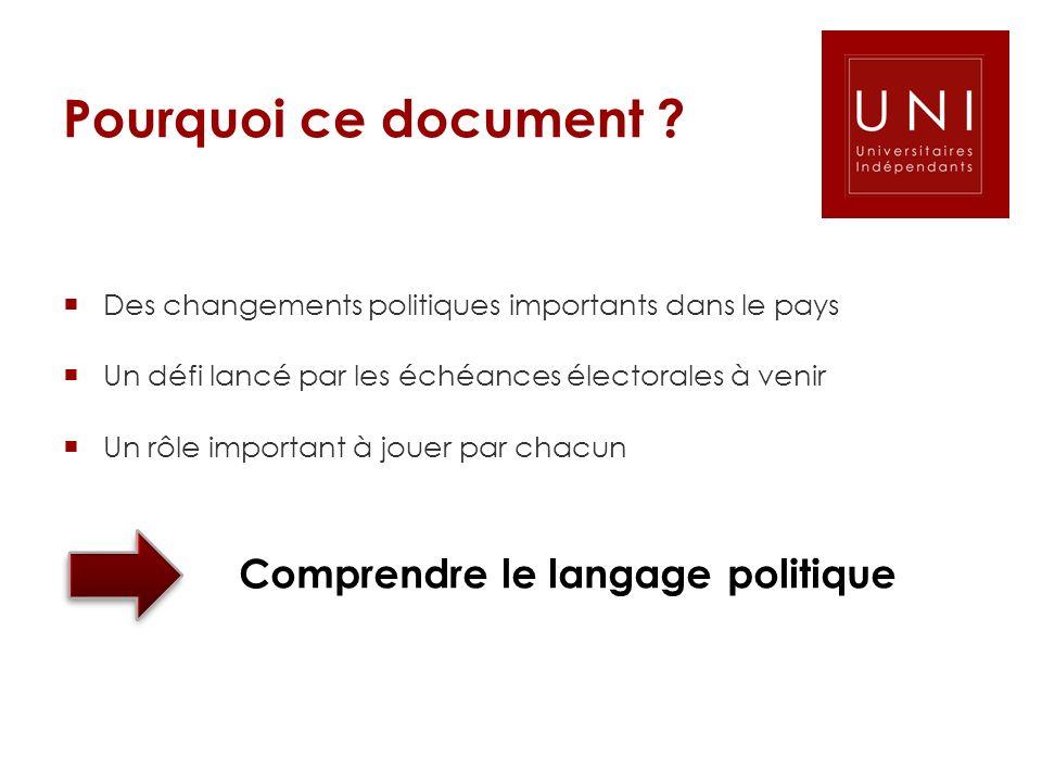 Pourquoi ce document Comprendre le langage politique