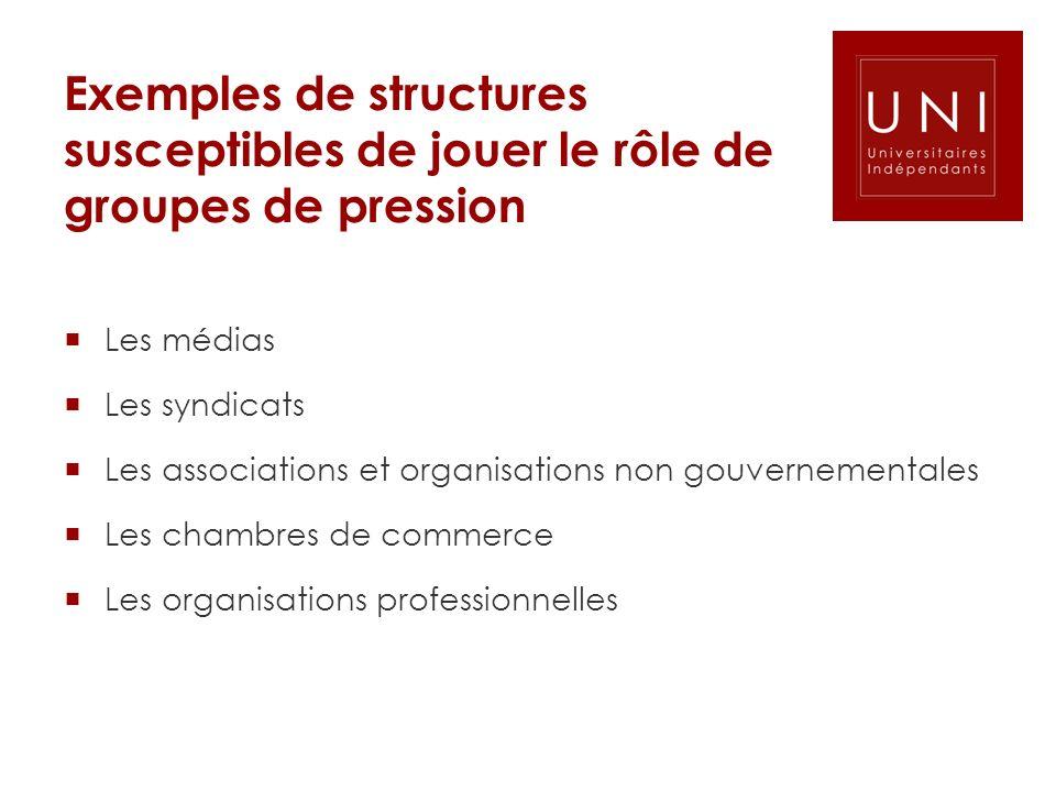 Exemples de structures susceptibles de jouer le rôle de groupes de pression