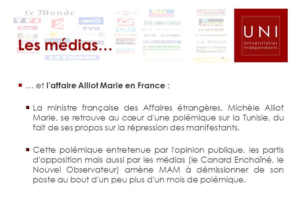 Les médias… … et l affaire Alliot Marie en France :