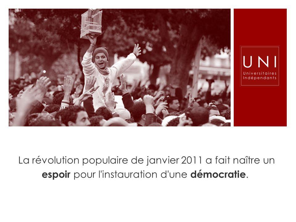 La révolution populaire de janvier 2011 a fait naître un espoir pour l instauration d une démocratie.