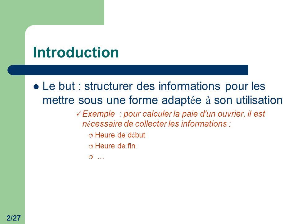 Introduction Le but : structurer des informations pour les mettre sous une forme adaptée à son utilisation.