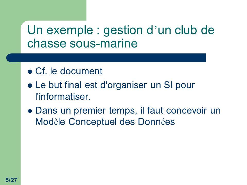 Un exemple : gestion d'un club de chasse sous-marine
