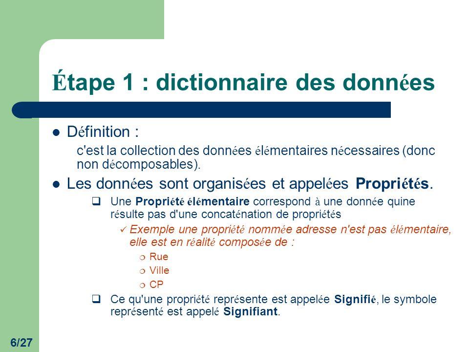 Étape 1 : dictionnaire des données