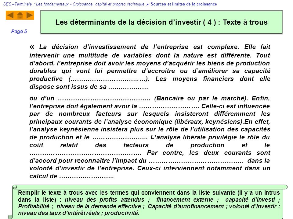 Les déterminants de la décision d'investir ( 4 ) : Texte à trous