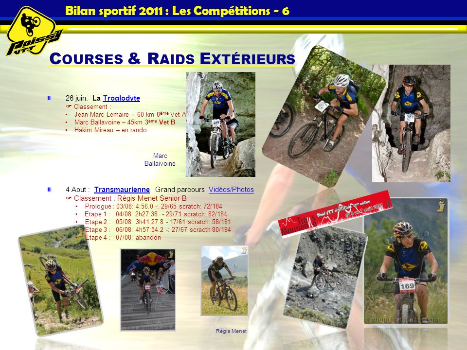 Bilan sportif 2011 : Les Compétitions - 6