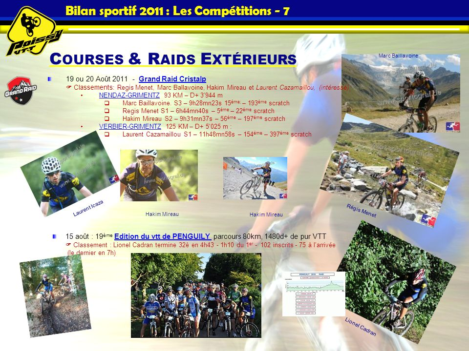 Bilan sportif 2011 : Les Compétitions - 7