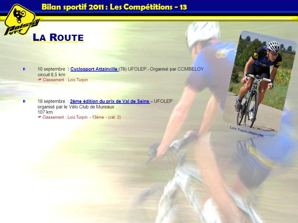 Bilan sportif 2011 : Les Compétitions - 13