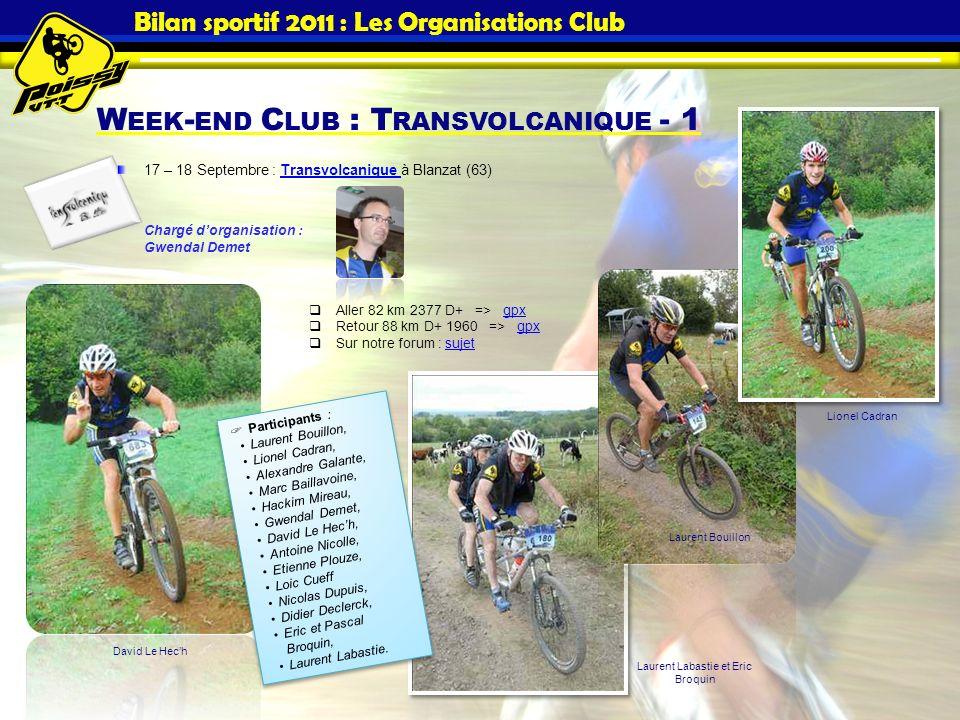 Bilan sportif 2011 : Les Organisations Club