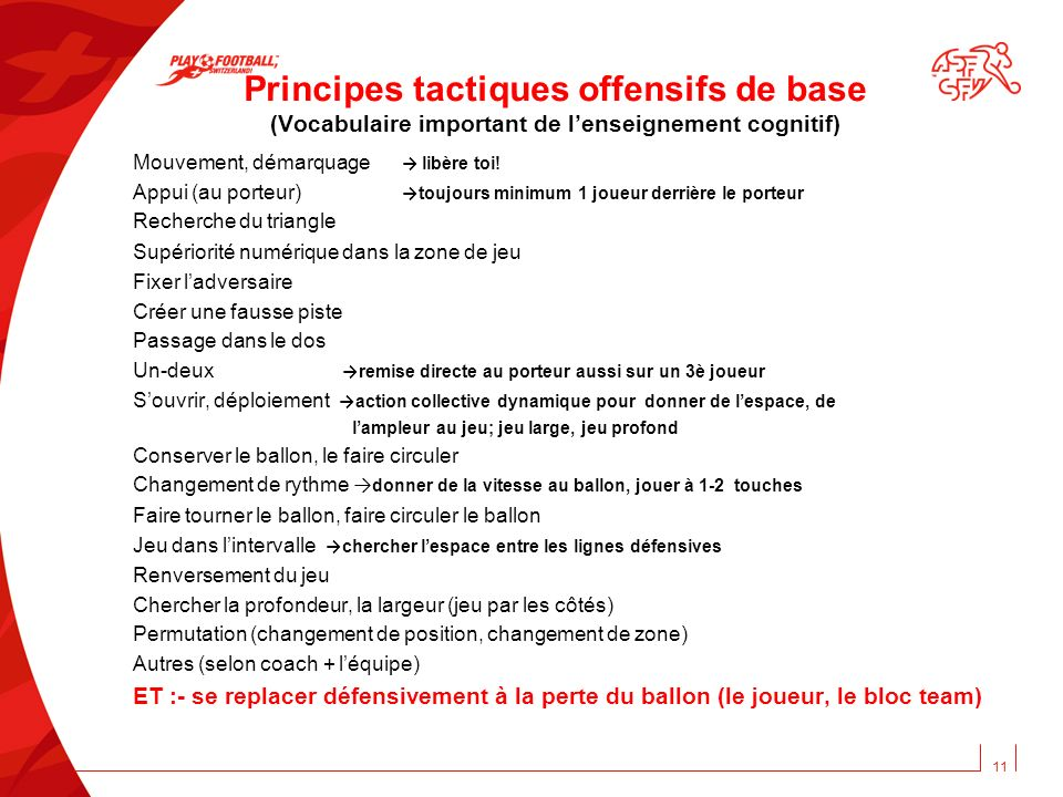 Principes tactiques offensifs de base (Vocabulaire important de l'enseignement cognitif)