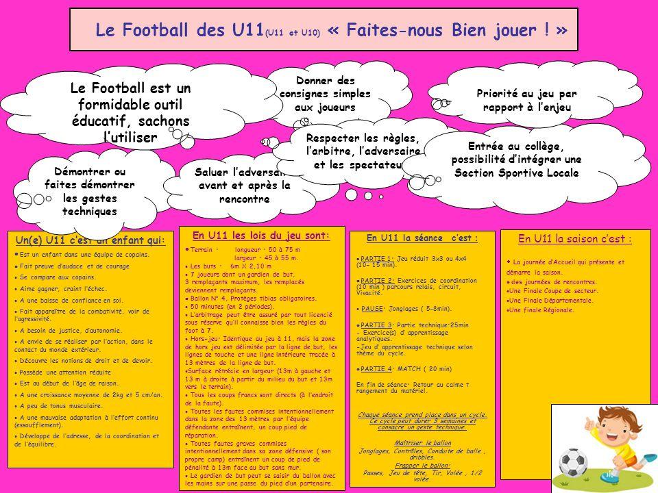 Le Football des U11(U11 et U10) « Faites-nous Bien jouer ! »
