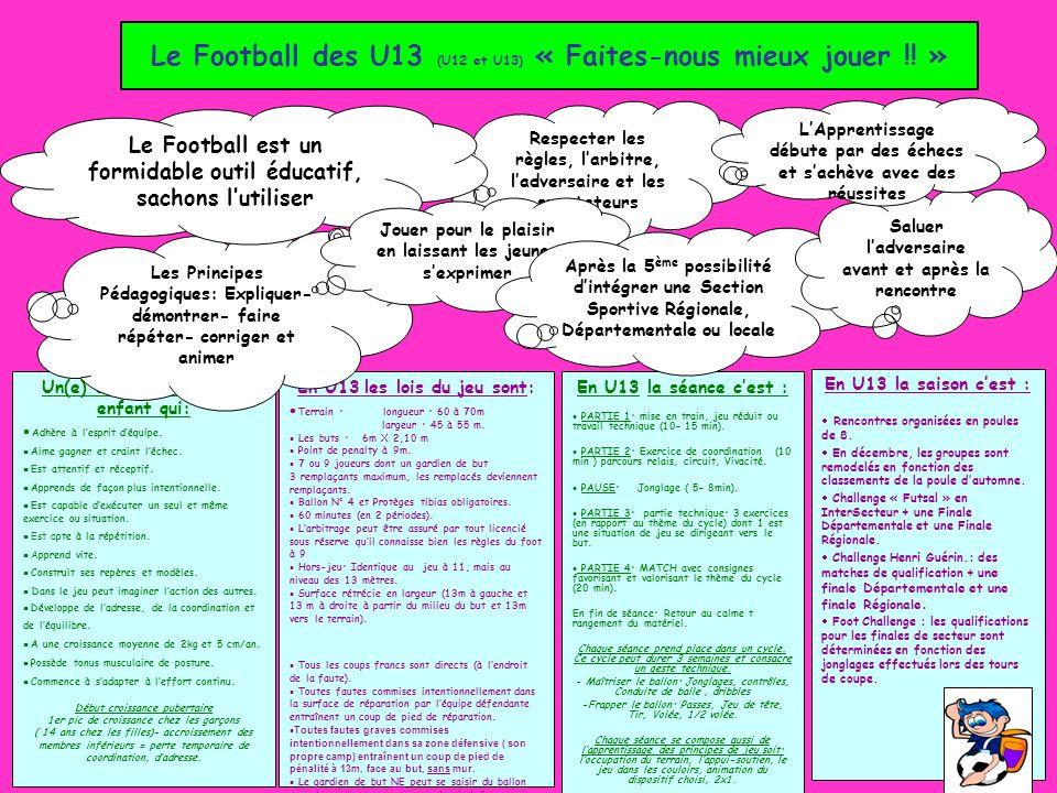 Le Football des U13 (U12 et U13) « Faites-nous mieux jouer !! »