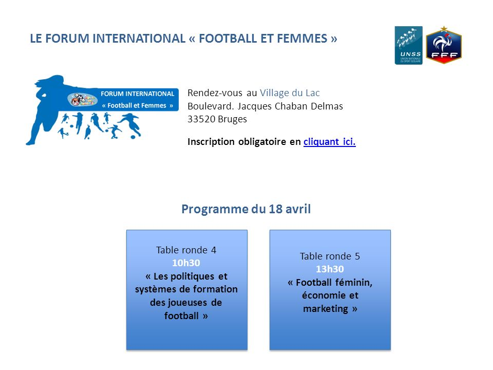 LE FORUM INTERNATIONAL « FOOTBALL ET FEMMES »