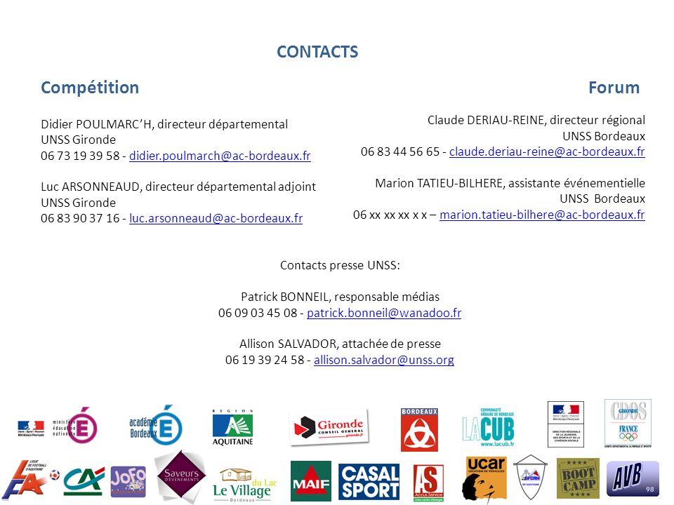 CONTACTS Compétition Forum Didier POULMARC'H, directeur départemental