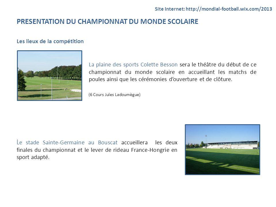 PRESENTATION DU CHAMPIONNAT DU MONDE SCOLAIRE