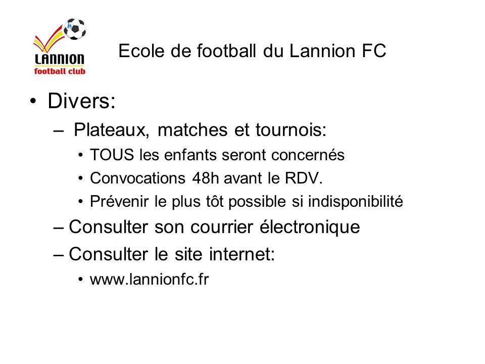 Divers: Ecole de football du Lannion FC Plateaux, matches et tournois: