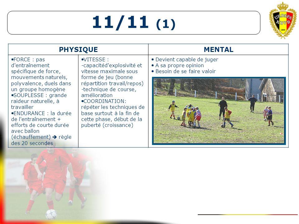 11/11 (1) PHYSIQUE. MENTAL. FORCE : pas d entraînement spécifique de force, mouvements naturels, polyvalence, duels dans un groupe homogène.
