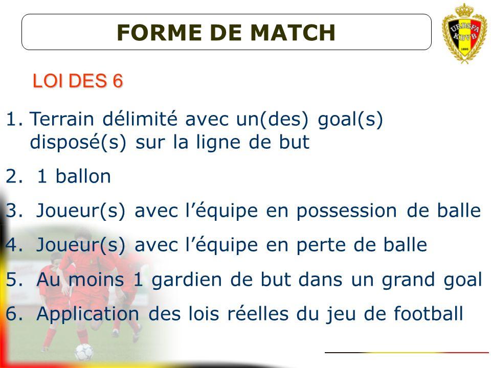 FORME DE MATCH LOI DES 6. Terrain délimité avec un(des) goal(s) disposé(s) sur la ligne de but. 1 ballon.