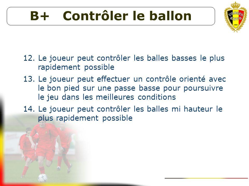 B+ Contrôler le ballon Le joueur peut contrôler les balles basses le plus rapidement possible.