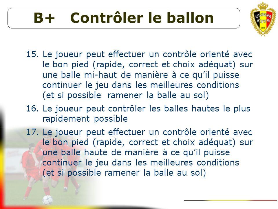 B+ Contrôler le ballon