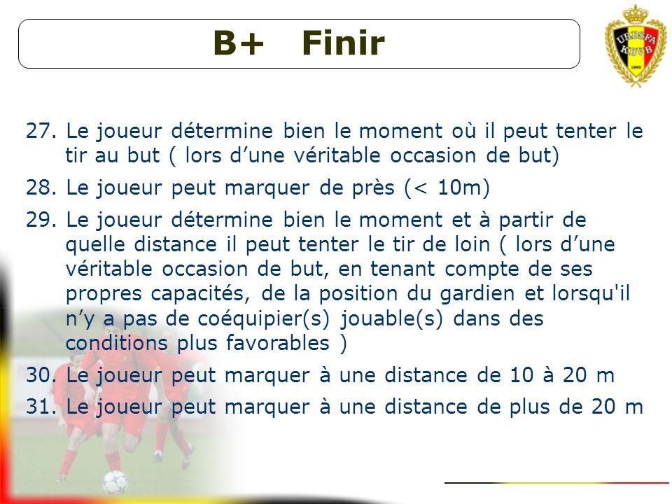 B+ Finir Le joueur détermine bien le moment où il peut tenter le tir au but ( lors d'une véritable occasion de but)