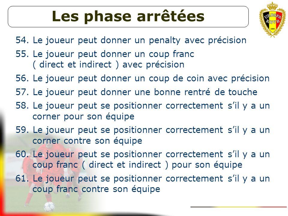 Les phase arrêtées Le joueur peut donner un penalty avec précision