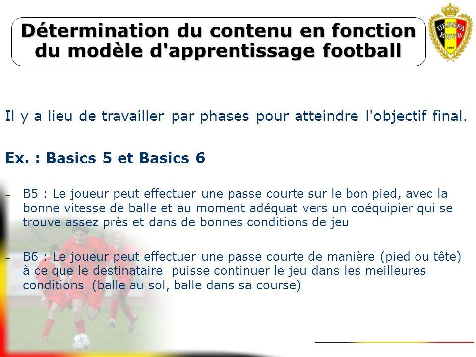 Détermination du contenu en fonction du modèle d apprentissage football