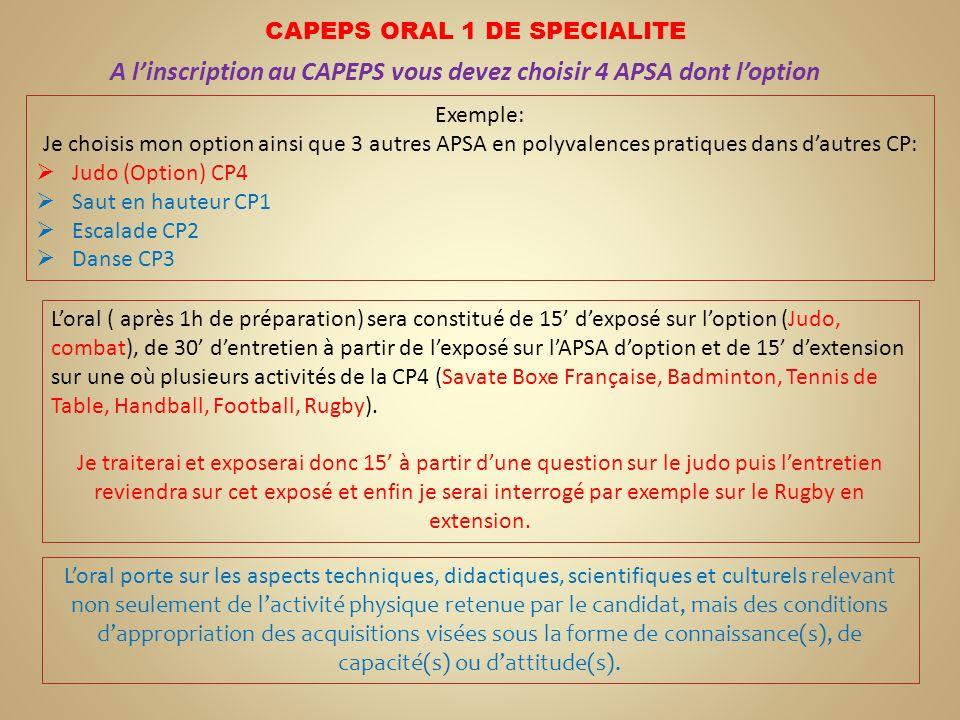 A l'inscription au CAPEPS vous devez choisir 4 APSA dont l'option