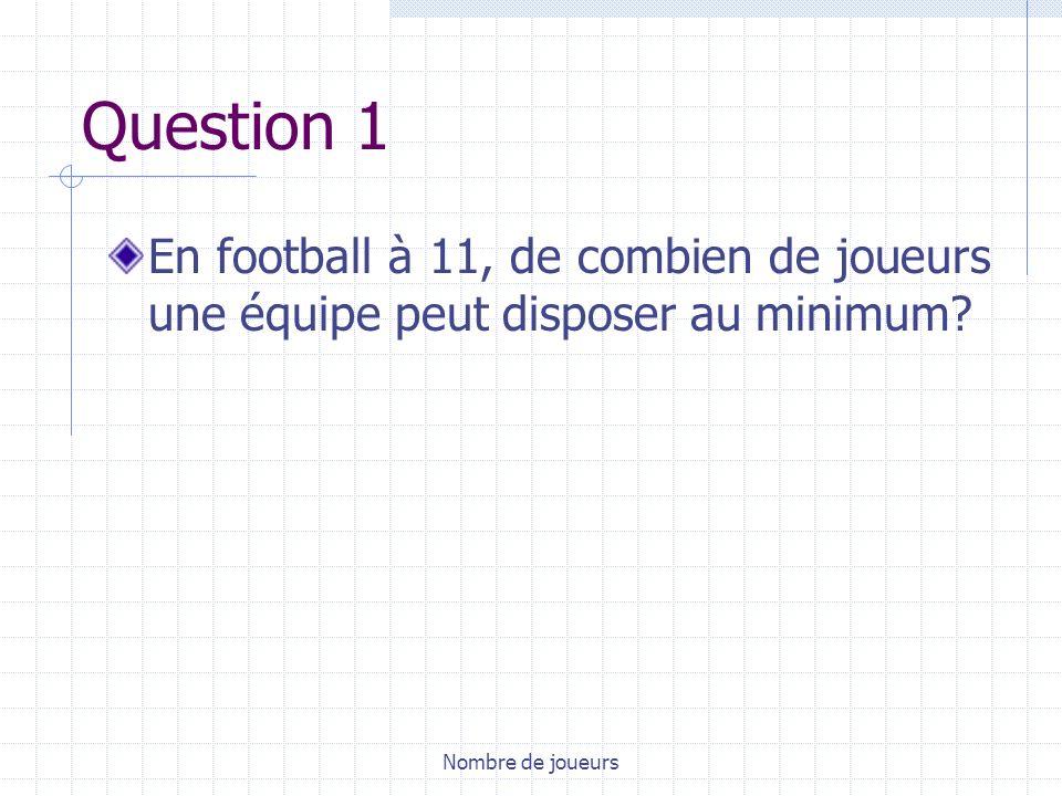 Question 1 En football à 11, de combien de joueurs une équipe peut disposer au minimum.
