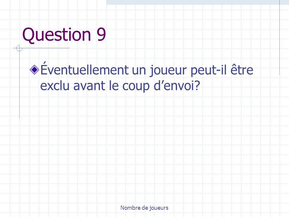 Question 9 Éventuellement un joueur peut-il être exclu avant le coup d'envoi Nombre de joueurs