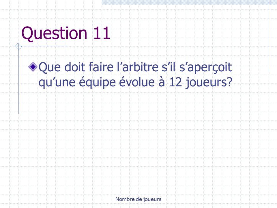 Question 11 Que doit faire l'arbitre s'il s'aperçoit qu'une équipe évolue à 12 joueurs.