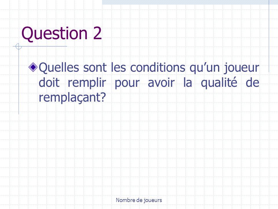 Question 2 Quelles sont les conditions qu'un joueur doit remplir pour avoir la qualité de remplaçant