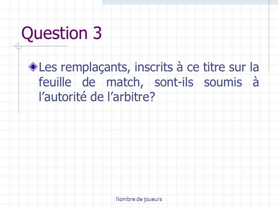 Question 3 Les remplaçants, inscrits à ce titre sur la feuille de match, sont-ils soumis à l'autorité de l'arbitre