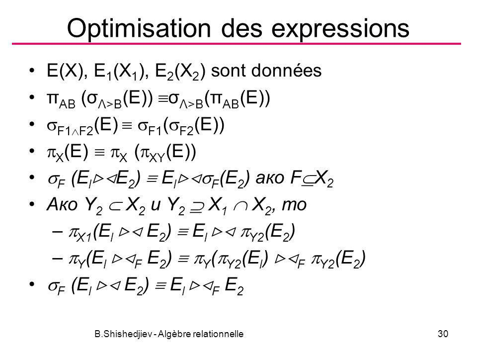 Optimisation des expressions
