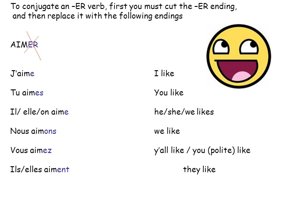 To conjugate an –ER verb, first you must cut the –ER ending,