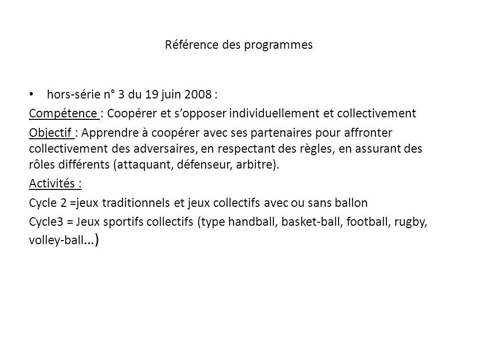Référence des programmes