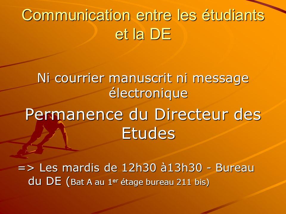 Communication entre les étudiants et la DE