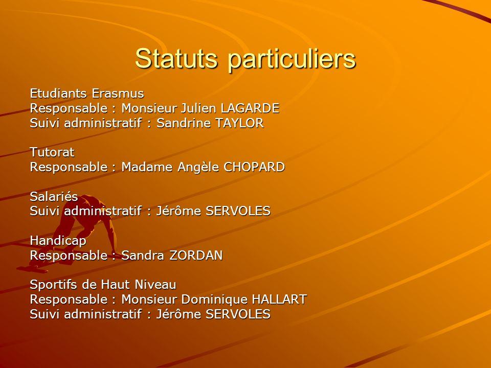 Statuts particuliers Etudiants Erasmus