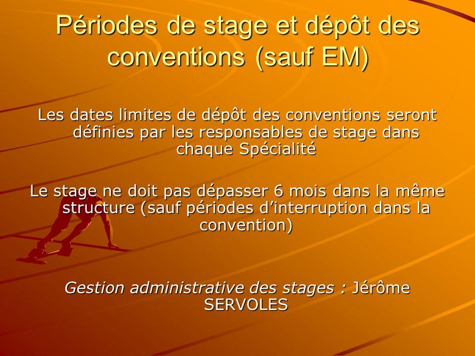 Périodes de stage et dépôt des conventions (sauf EM)