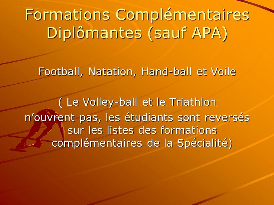 Formations Complémentaires Diplômantes (sauf APA)