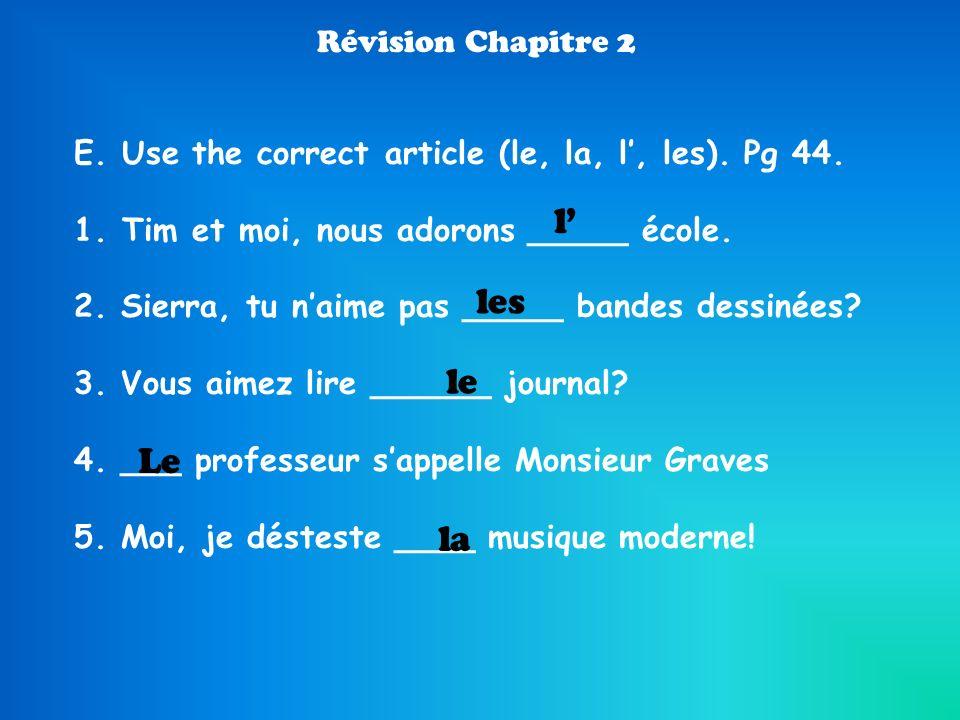 l' les le Le la Révision Chapitre 2